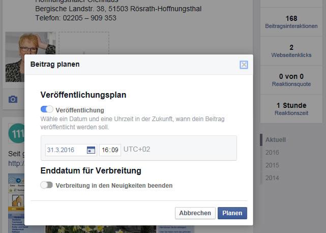 Facebook-Beiträge planen step 2