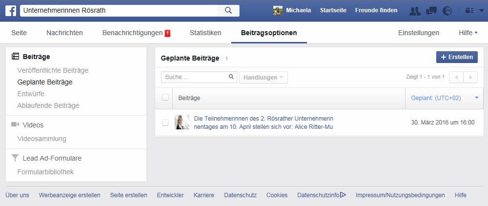 Facebook-Beiträge planen step 3