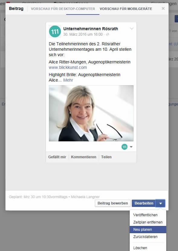 Facebook Beiträge planen, Planung überarbeiten