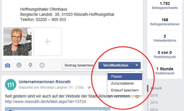 Facebook-Beiträge planen step 1